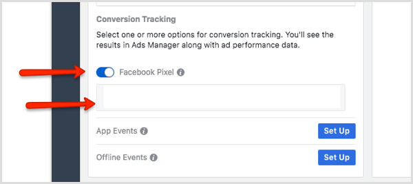 Conversion Tracking section for ad in Ads Manager