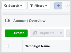Create button in Facebook Ads Manager
