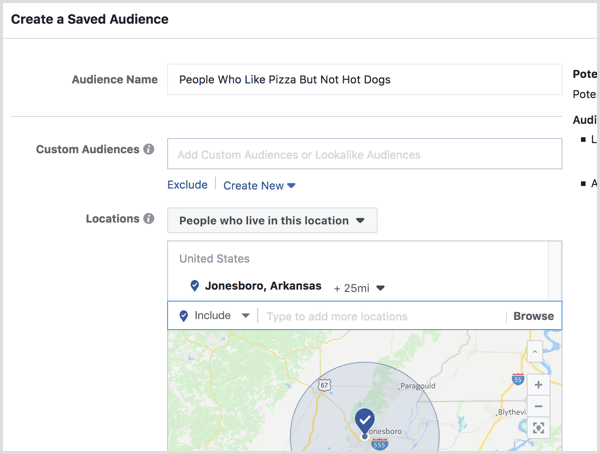 Set up location targeting for your saved audience.