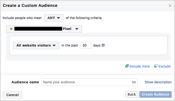 Facebook create website custom audience
