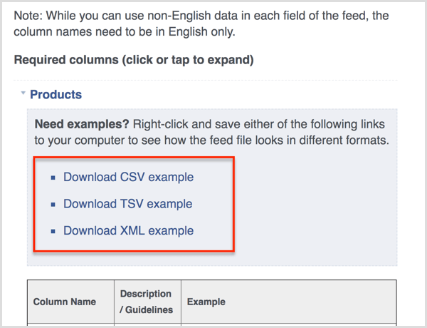 Facebook product feed examples available for download