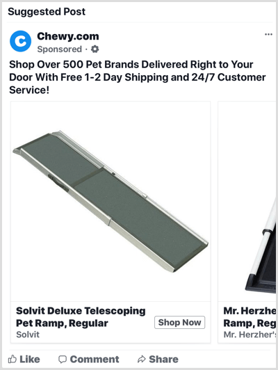 Facebook dynamic product ad example
