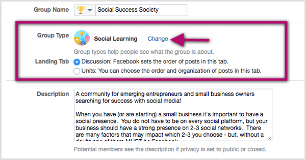 Click the Change link next to the existing group type classification and select Social Learning.