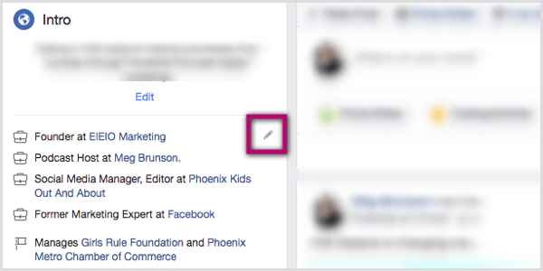 pencil icon in Intro section of Facebook profile