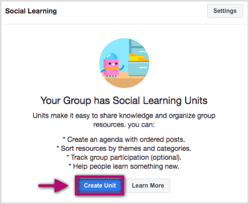 Navigate to the Units tab from within your Facebook group and click Create Unit.