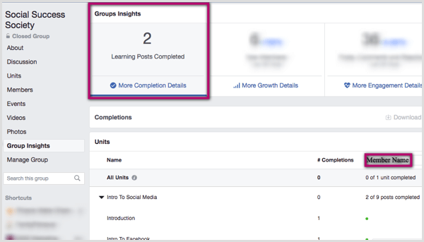 Navigate to the Group Insights tab within your group to see how many learning posts were completed.