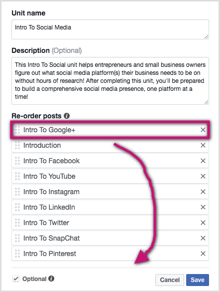 Drag and drop the posts into the order you prefer in the Facebook group unit.