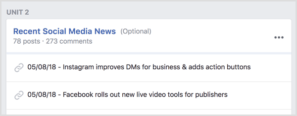 Create a Facebook group unit for breaking news.