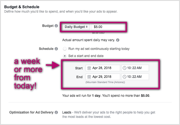 Set budget and schedule for Facebook lead ad.