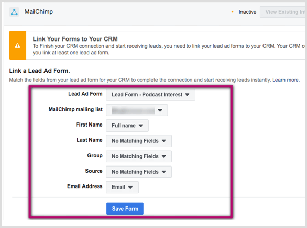 Link lead ad form to CRM.
