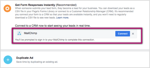 Connect CRM to Facebook lead ad.