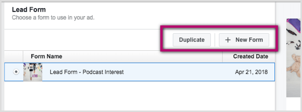 Duplicate and New Form buttons for Facebook lead ad