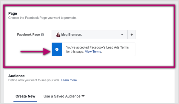 Select Facebook page for lead ad in Ads Manager