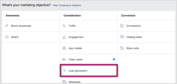 Facebook campaign objectives in Ads Manager