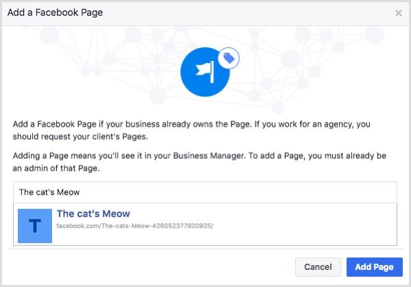 Select your Facebook page and click Add Page.
