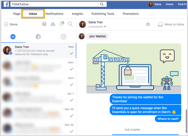 Facebook page Inbox Messenger