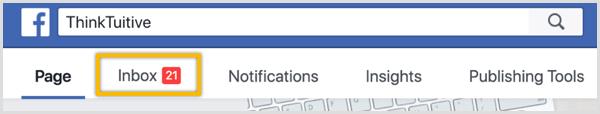 Gebruik het tabblad Inbox op uw Facebook-pagina om op berichten te reageren.