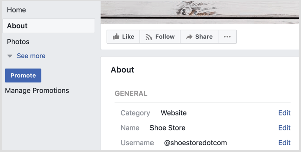 Facebook page preview edit