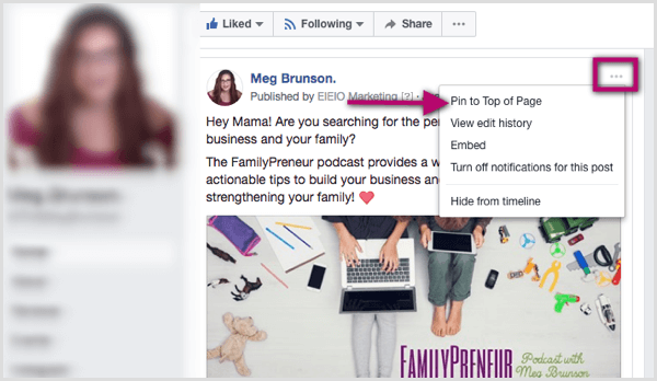 Pin to Top of Page-optie voor Facebook-bericht