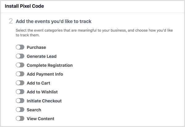 list of Facebook pixel events categories