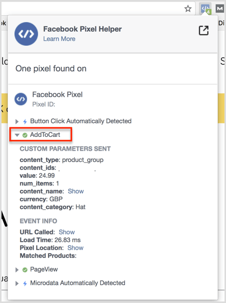 Facebook Pixel Helper plugin results on Add to Cart page
