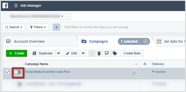 Toggle to turn on campaign in Ads Manager.