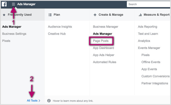 Page Posts option in Facebook Ads Manager