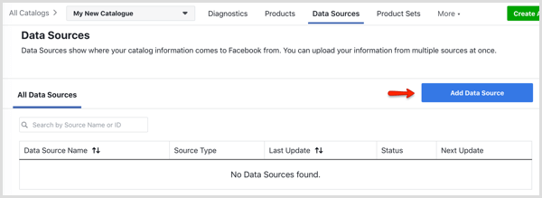 Add Data Source button on Data Sources tab in Facebook Catalog Manager
