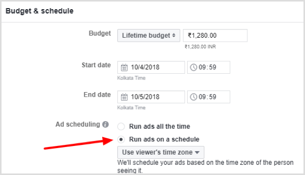 Select the Run Ads on a Schedule option under Ad Scheduling.