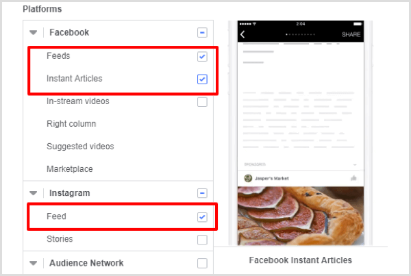 Select placement options for your Facebook campaign.