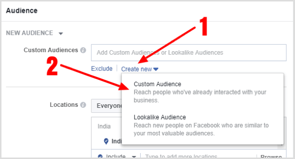Click Create New under the Custom Audiences box and select Custom Audience.