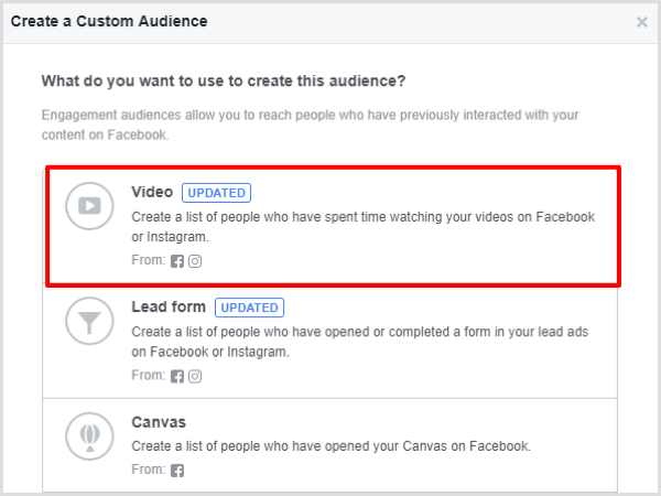 Select the Video engagement option for your Facebook custom audience.