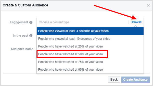 Select People Who Have Watched at Least 50% of Your Video.