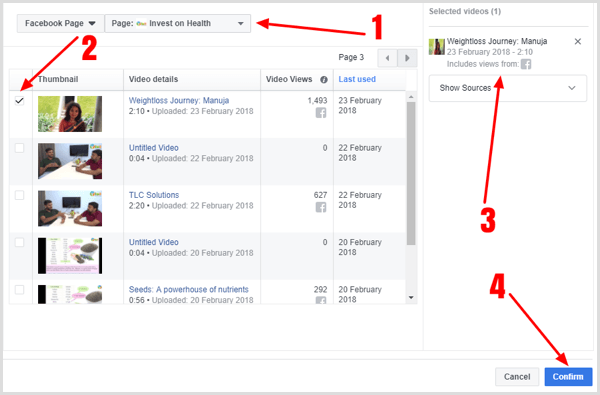Combine viewers of multiple videos into one Facebook custom audience.