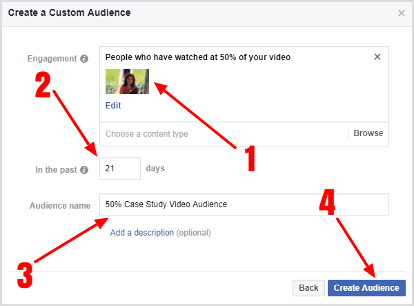 Click the Create Audience button to finish creating your custom audience.