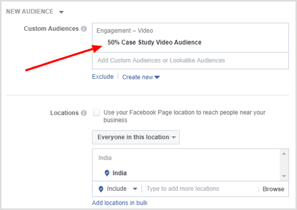 Your new audience is selected in the Custom Audience box.