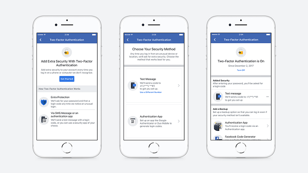 Facebook streamlined the setup flow that enables users to establish two-factor authorization and eliminated the need to register a phone number to secure an account.