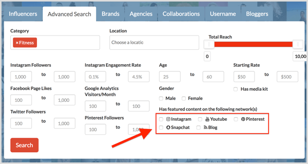 Influenceco Advanced Search options