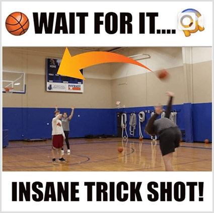 An Instagram video post thumbnail image has white bars and black text above and below an image of a white man doing a trick shot with a basketball in a gym. The top text has a basketball emoji and the text Wait For It. The bottom text says Insane Trick Shot!