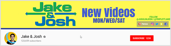 Jake and Josh YouTube channel page has a yellow background and the text Jake in green above Josh in blue. The text New Videos Mon Wed Sat appears to the right along with their Instagram, Twitter, Snapchat, and Facebook handles.
