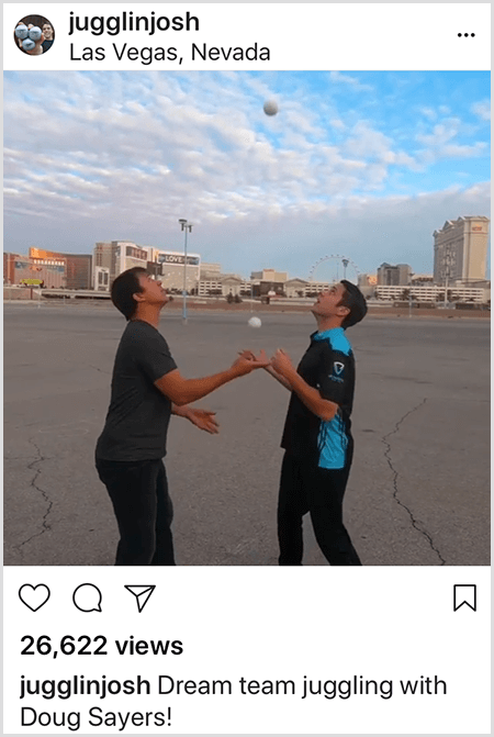 A Josh Horton Instagram photo of collaboration with Doug Sayers. The top of the post locates the photo in Las Vegas, Nevada. Two white men stand in an empty lot facing each other while looking up at the balls they are juggling.