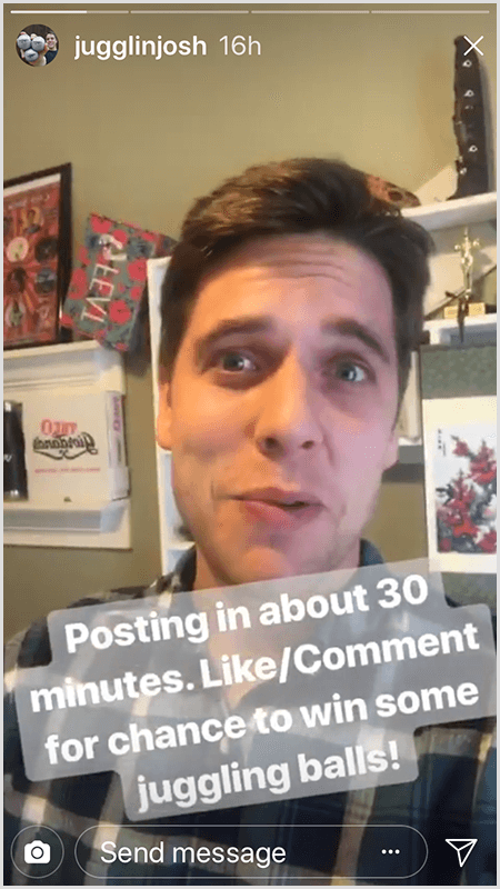 Josh Horton Instagram stories post shows Josh facing the camera with the text Posting In About 30 Mintues. Like/Comment For Chance To Win Some Juggling Balls!