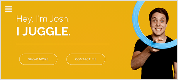 Josh Horton's website for juggling has a yellow background, a photo of Josh smiling and twirling a light blue juggling ring around his index finger, and white text that says Hey I'm Josh. I Juggle.