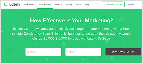 The Lately Consistency Scanner page has a green background and two text boxes, one for a website address and another for an email address. Above the text boxes is white text that says How Effective Is Your Marketing? Next to the text boxes is a black button that says Scan My URL For Free.