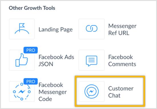 Herramienta de crecimiento de Chat de cliente de ManyChat