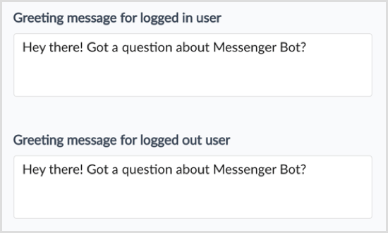 ManyChat greeting for logged in users