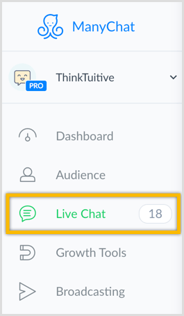 Beantwoord gebruikers vanaf het tabblad Live Chat in ManyChat.