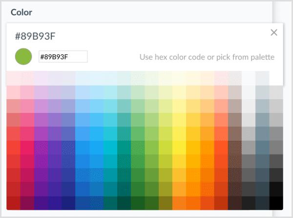 ManyChat selecteert kleur