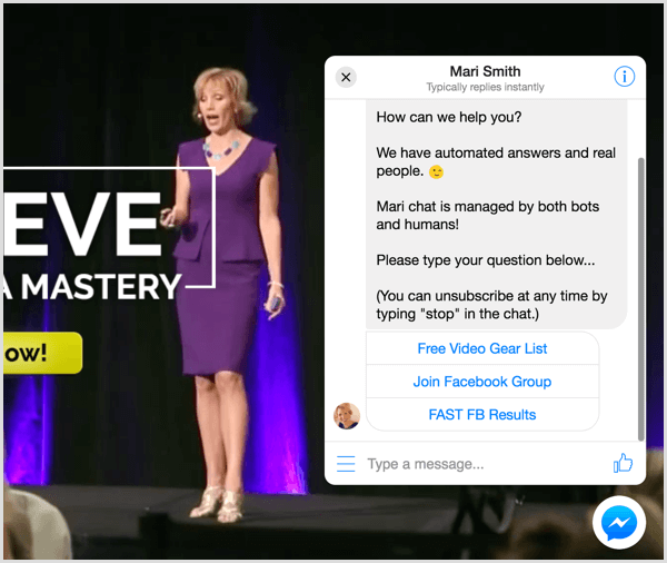Messenger customer chat plugin Mari Smith