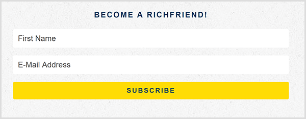 Nicole Walters calls her email list her Rich Friend list as shown on the email signup form on her website. She asks for a first name and email address. The form has a bright yellow Subscribe button.